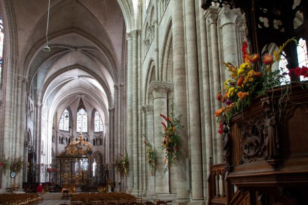 The cathedral, lavishly decorated with flowers for the Saint-Fiacre celebration